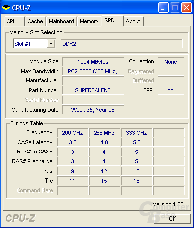 Super Talent CPU-Z SPD