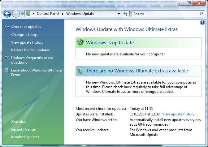Windows Ultimate Extras - aktuell noch nichts verfügbar