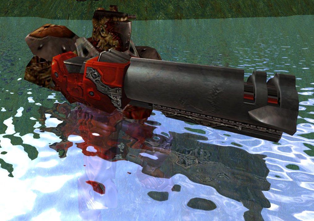 """""""Quake 4: Raytraced"""": Das Wasser spiegelt die Umgebung inklusive des Spielers."""