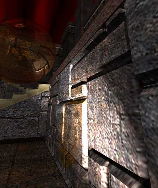 Die ausgetauschte Wand im Spiel: Die echten geometrischen Verformungen können aus jeder Perspektive betrachtet werden.