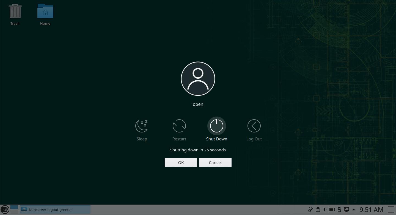 openSUSE Leap (KDE) – Shutdown