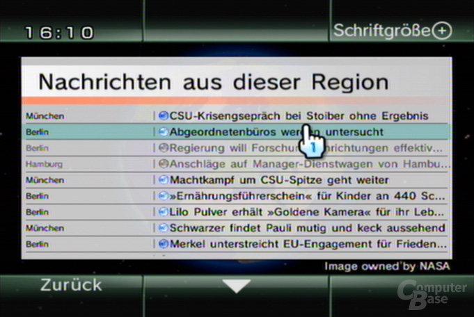 Nachrichtenkanal - Regionsliste