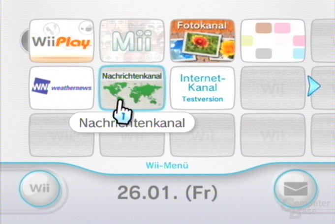 Nachrichtenkanal im Wii-Menü