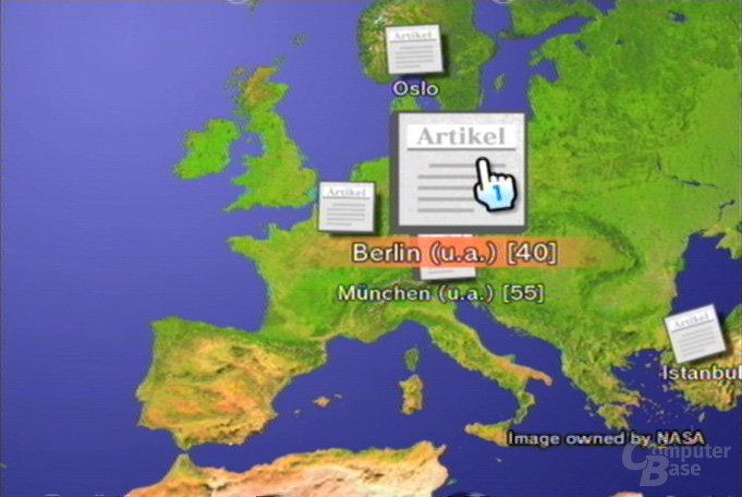 Nachrichtenkanal - Globus, Nachrichten nach Ort