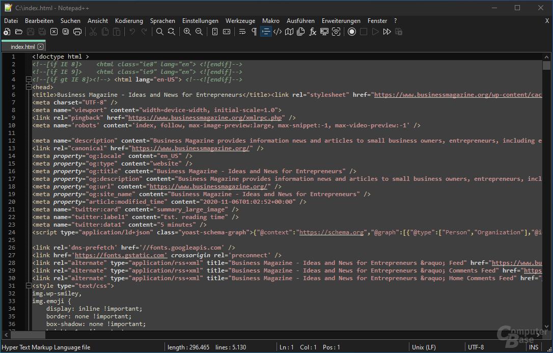 Notepad++ – Oberfläche (hell)