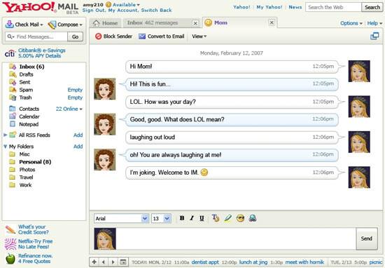 Yahoo Mail Beta mit integriertem Messenger