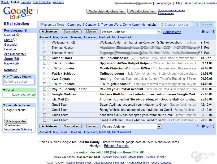 Google Mail - optisch wenig ansprechend, jedoch starl am Funktionen