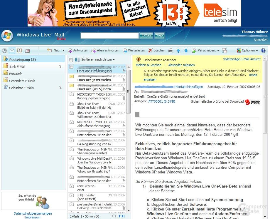 Microsoft Live Mail - riesige Werbung