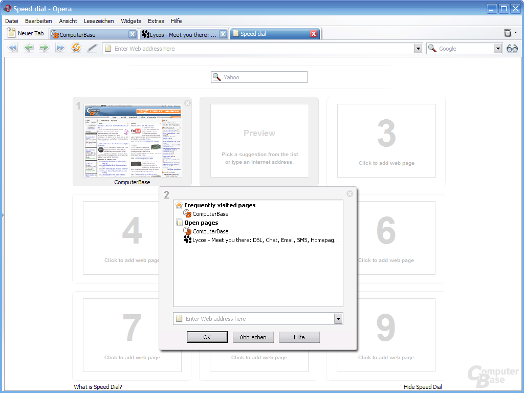 """Opera 9.20 mit """"Speed Dial""""-Feature"""