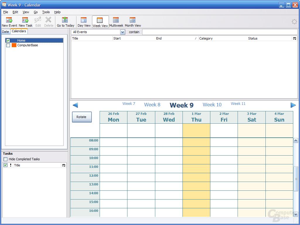 Kalender Mozilla Sunbird 0.5 Nightly