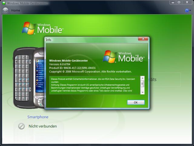 Windows Mobile Device Center Build 6784