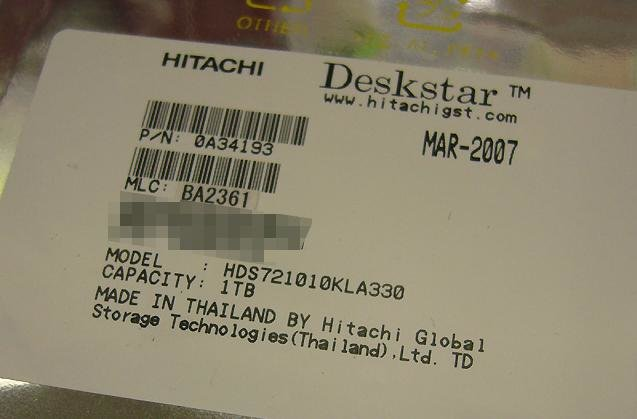 Hitachi-Festplatte mit einem Terabyte