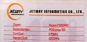 Jetway X1950Pro mit GDDR4 – Beschreibung