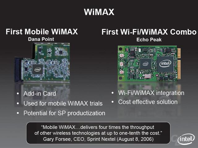 Santa Rosa-Komponente Echo Peek vereint WiMAX und WiFi auf einem Modul (Zwei Chips)