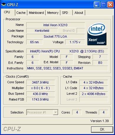 Xeon X3210 auf 3,487 GHz (Quelle: Xtremesystems.org))