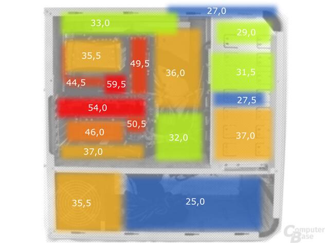 Oberflächentemperaturen nach Dauerlast im Besser-Leise Intel Ultimo