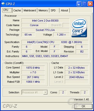 Asus P5K Deluxe CPU-Z CPU