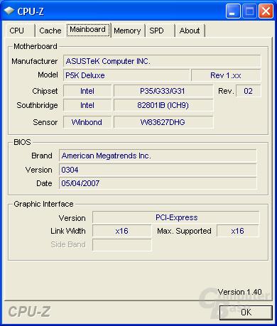 Asus P5K Deluxe CPU-Z MB