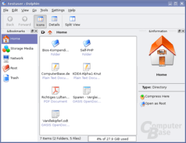 KDE4 – Dateimanager Dolphin in Kubuntu 7.04 – noch ohne Oxygen-Icons