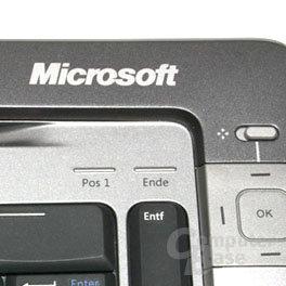 Reales Bild vom Wireless Entertainment Desktop 7000: Die Anzeigen für Num, Caps Lock etc. fehlen