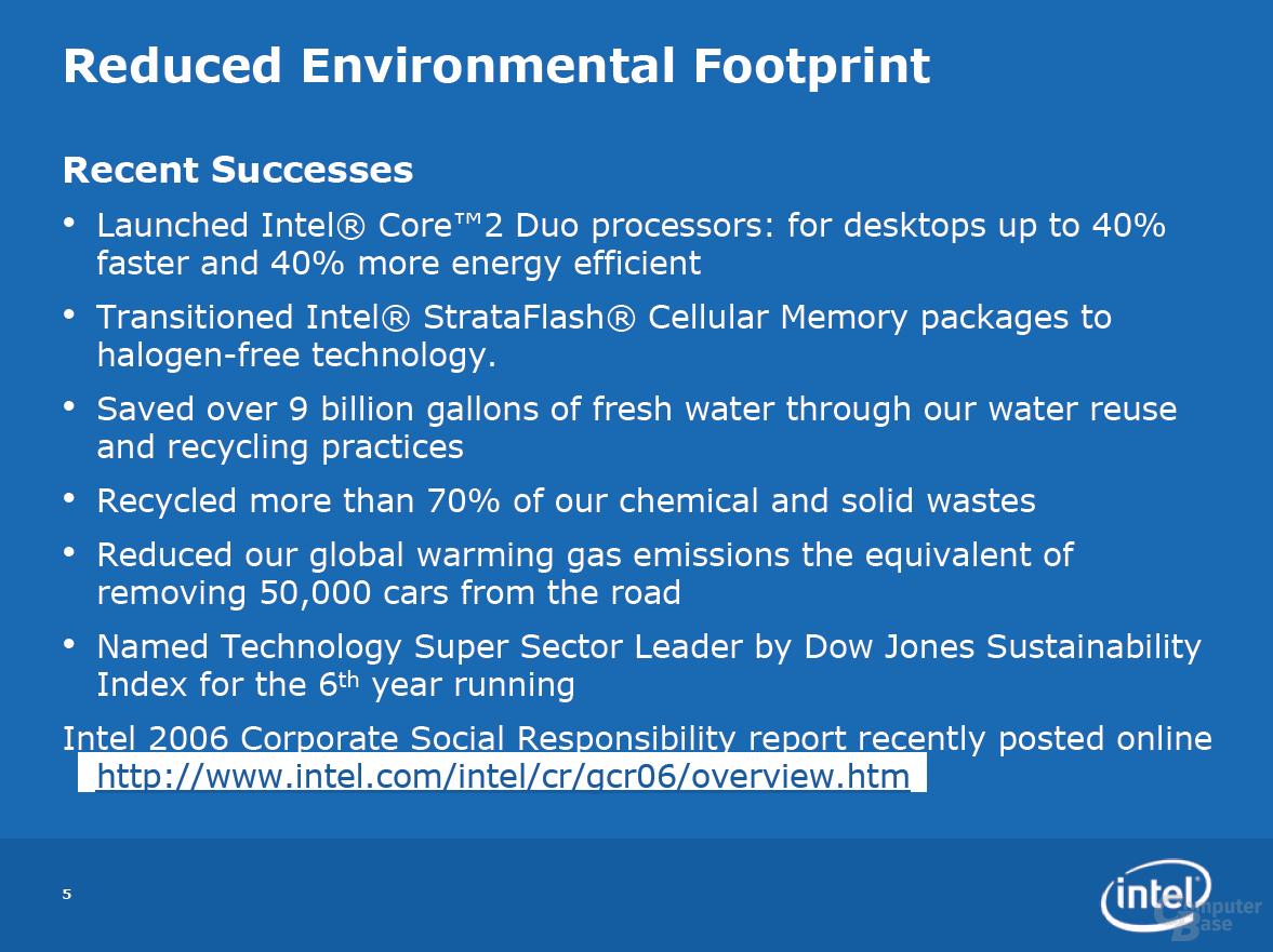 Umweltschutz bei Intel