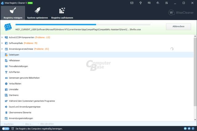 Free Registry Cleaner 7 – Scanvorgang