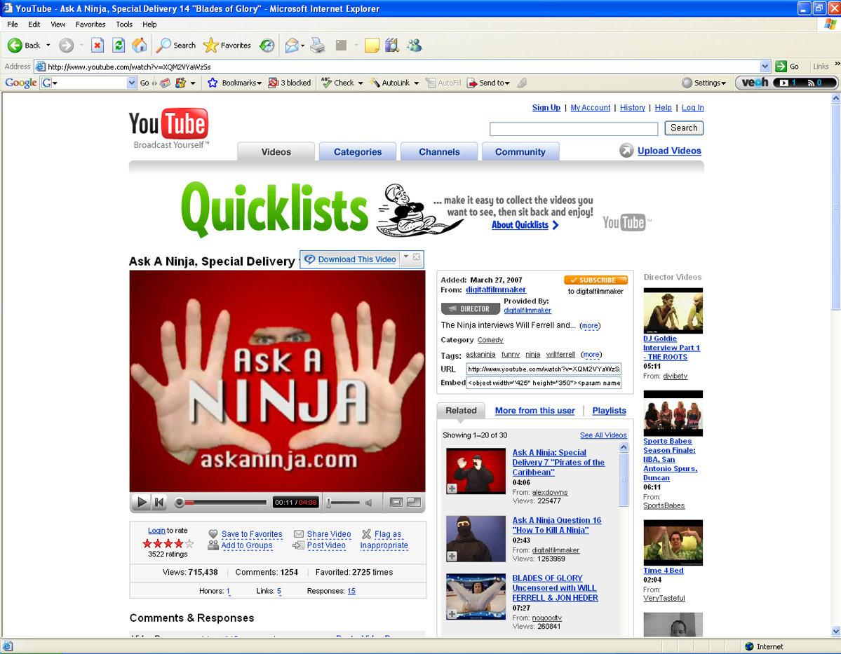 RealPlayer 11 auf YouTube