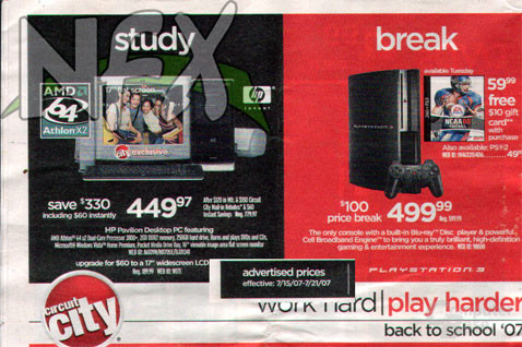 PS3-Preisnachlass in curcuit-city-Werbung