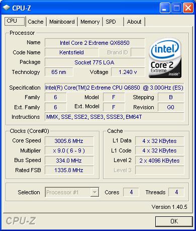 Der Intel Core 2 Extreme QX6850 mit G-0-Stepping und FSB1333