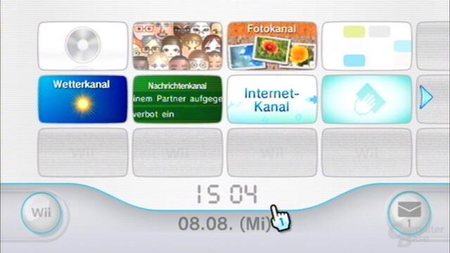 Wii-Hauptmenü mit Uhrzeit