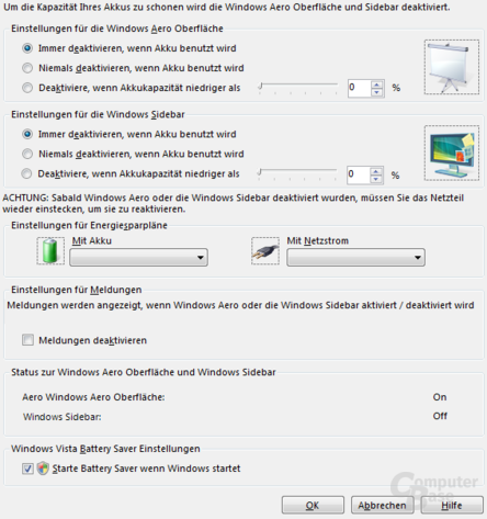 Vista Battery Saver - Deutsch