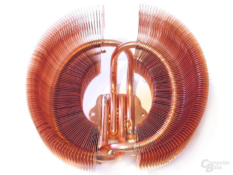 Eingeflochtene Dual-Heatpipe fürs Zalman Fächerdesign
