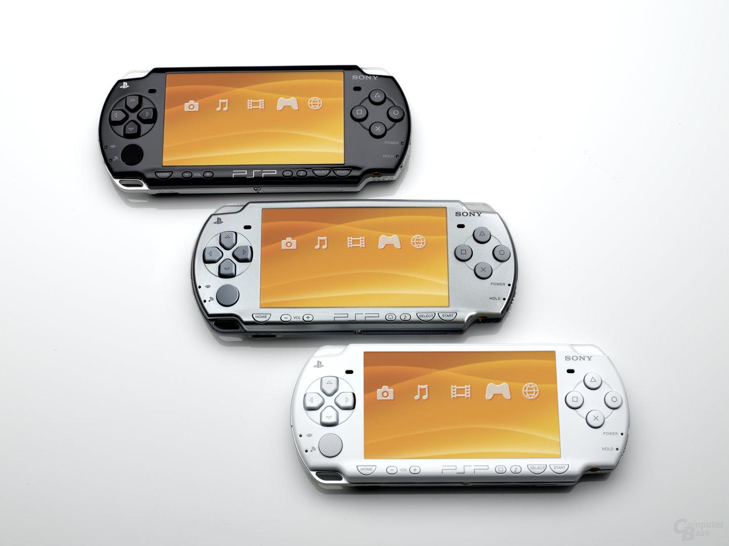 PSP Slim and Lite in Piano Black, Ceramic White und Ice Silver