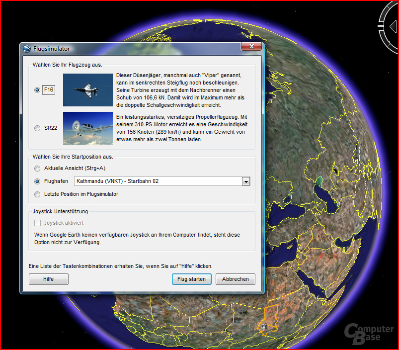 Google Flugsimulator