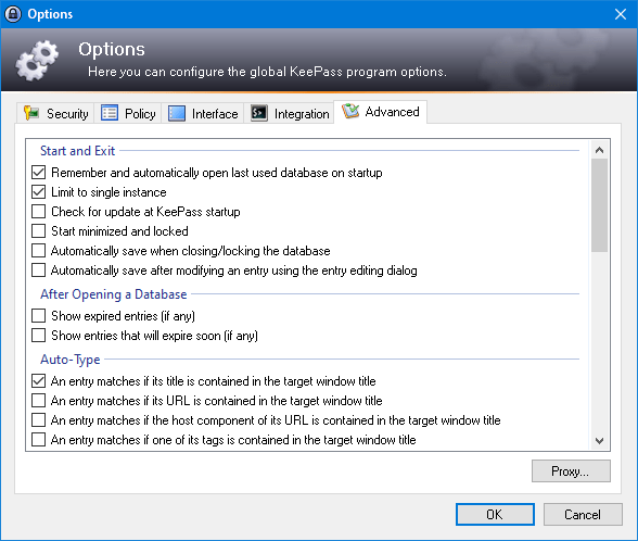 KeePass 2.xx – Options