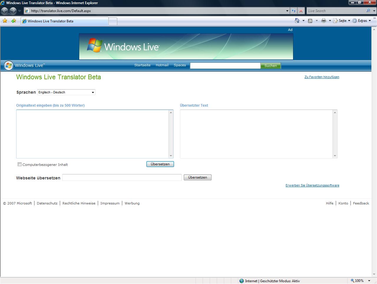 Windows Live Translator im Internet Explorer