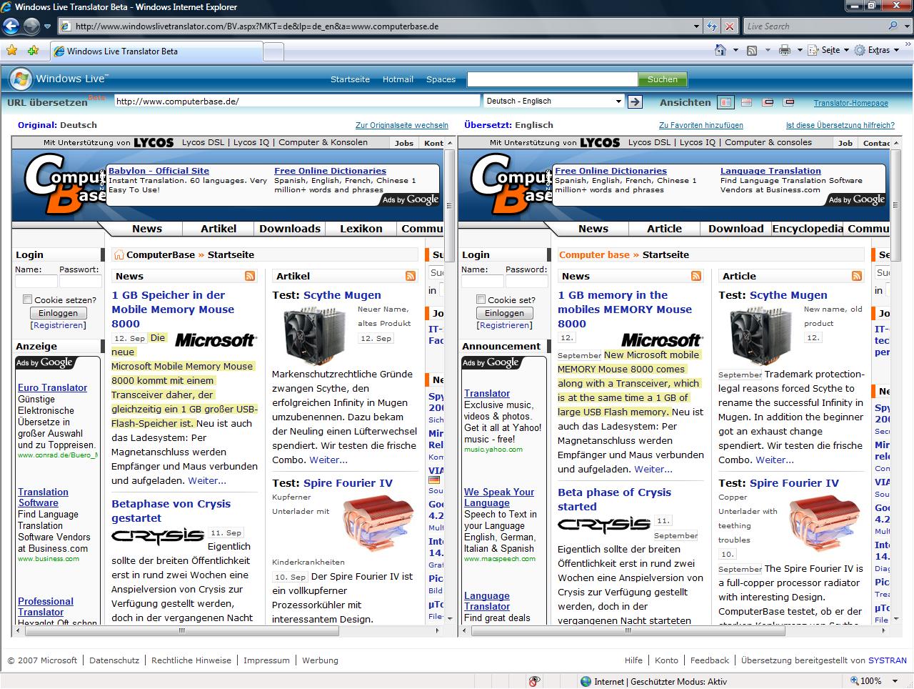 Windows Live Translator mit Darstellung nebeneinander