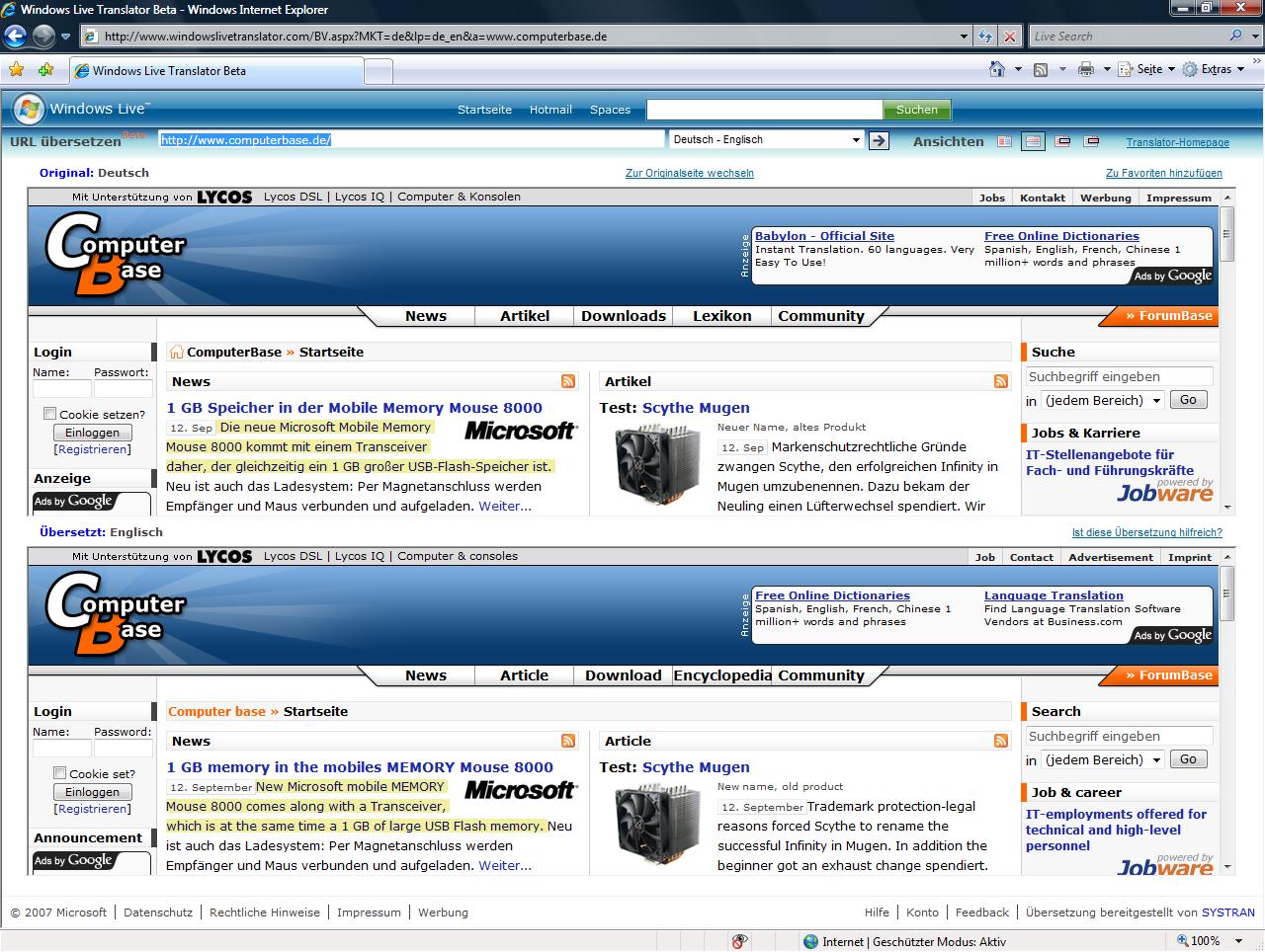 Windows Live Translator mit Darstellung übereinander