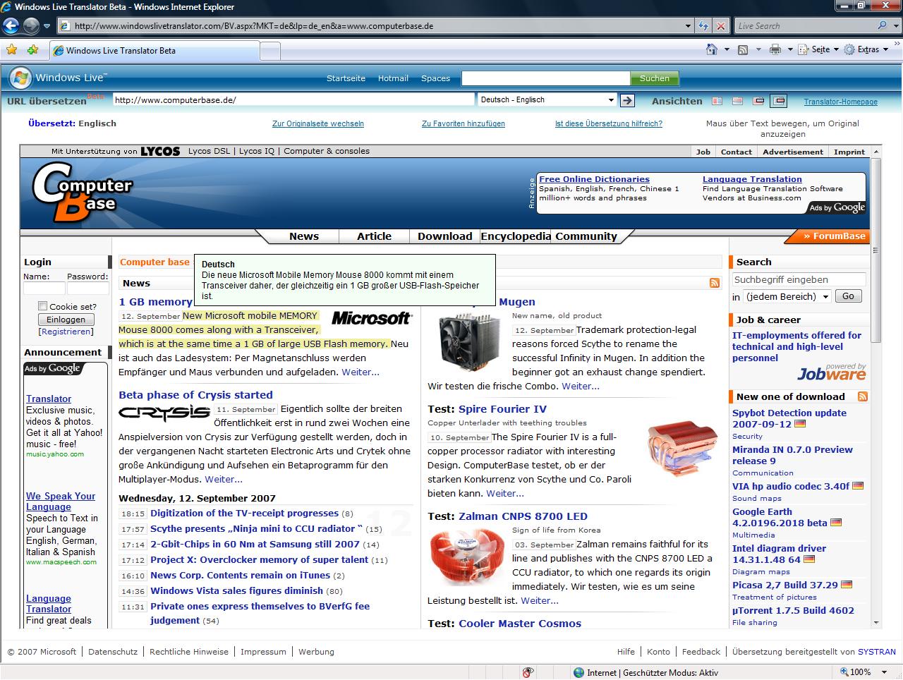 Windows Live Translator mit Hover Original