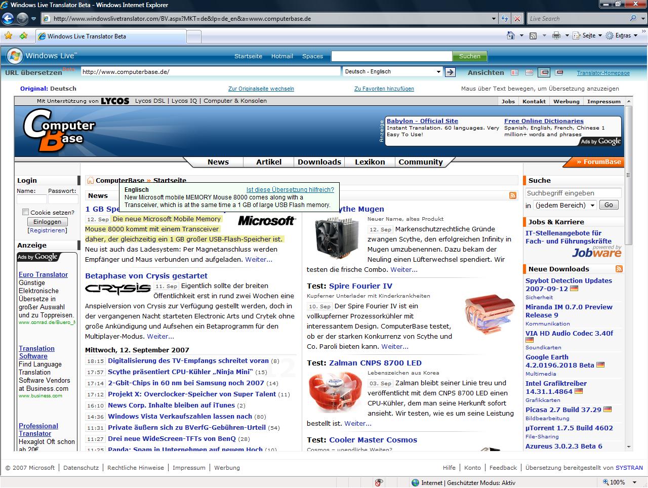Windows Live Translator mit Hover Übersetzung