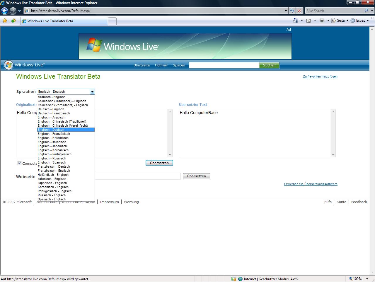 Windows Live Translator verfügbare Sprachen