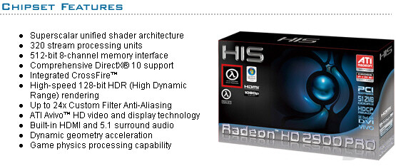 HIS Radeon HD 2900 Pro Spezifikation
