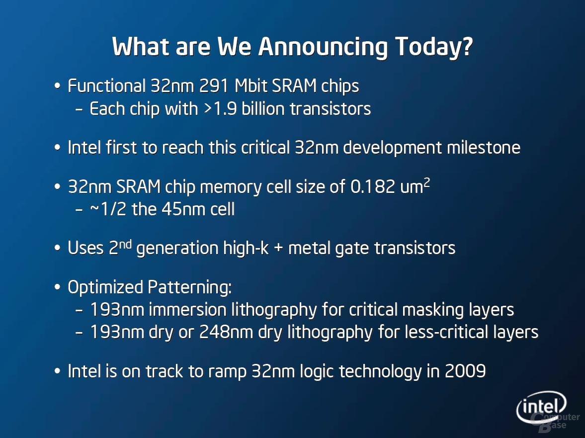 Intels 32nm Herstellungsprozess - Weitere Eckdaten