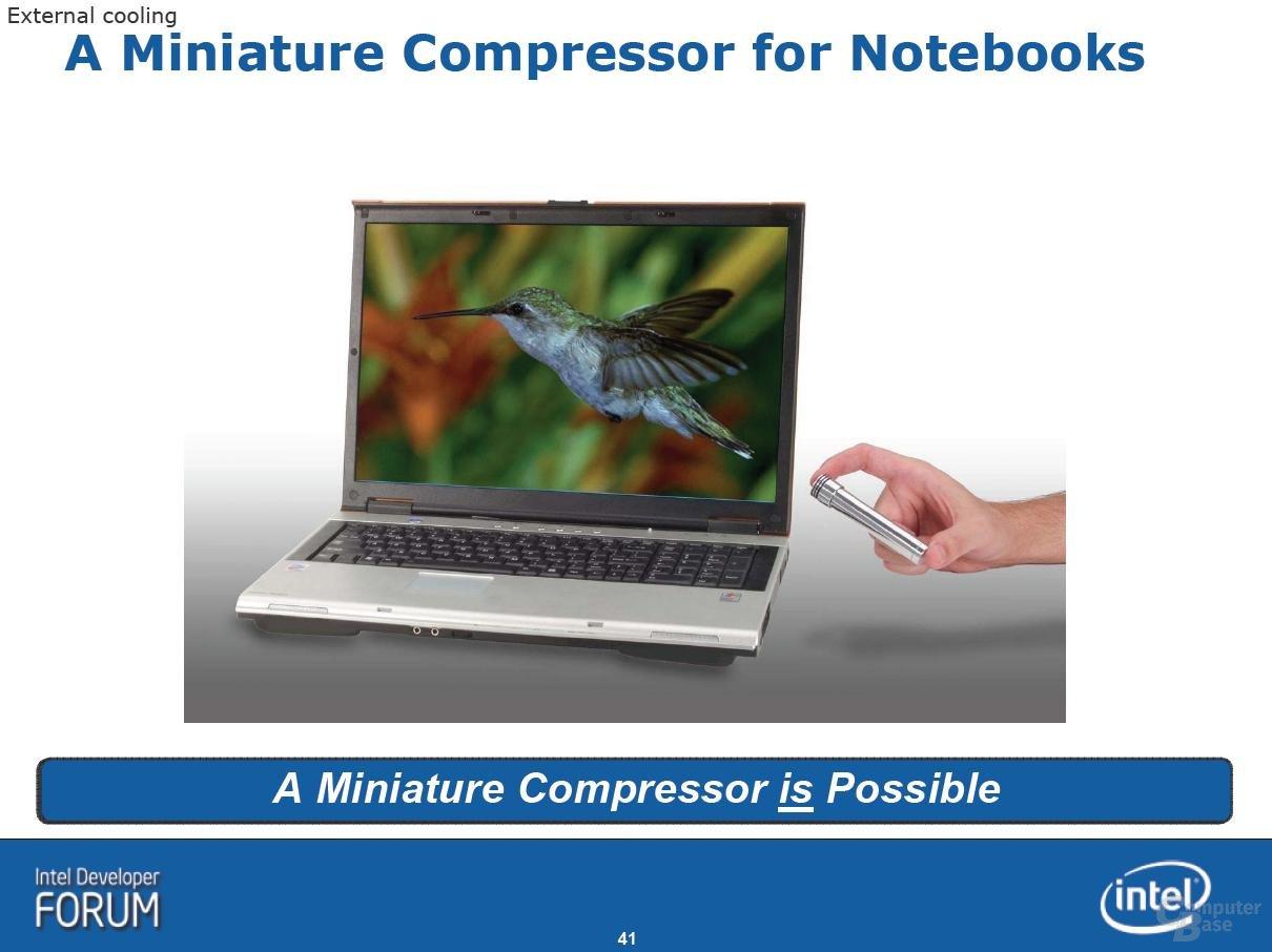 IDF: Kompressorkühlung für Notebooks
