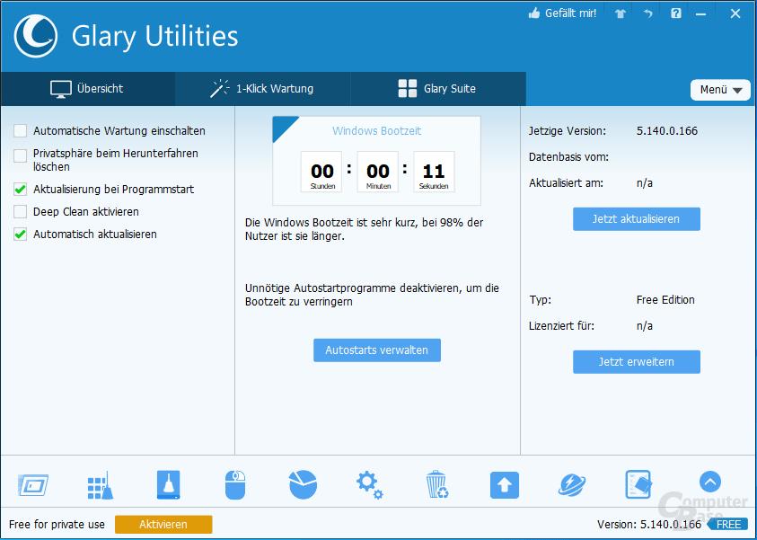 Glary Utilities – Übersicht