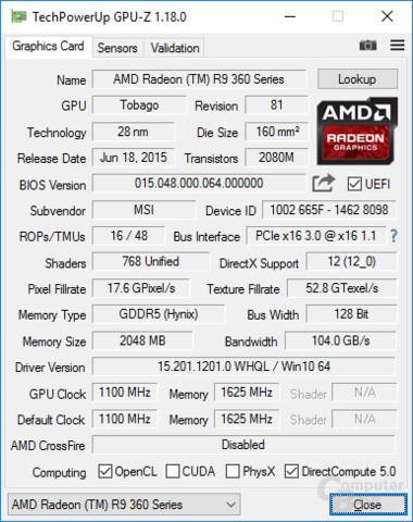 GPU-Z: Daten zur Grafikkarte