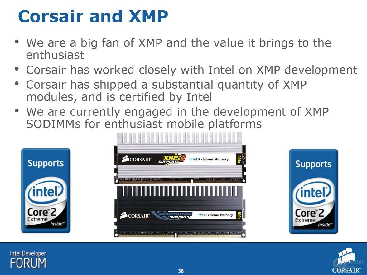 Intel X38 – Corsair unterstützt XMP