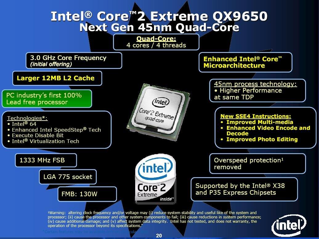 Intel Core 2 Extreme QX9650 die offiziellen Eckdaten