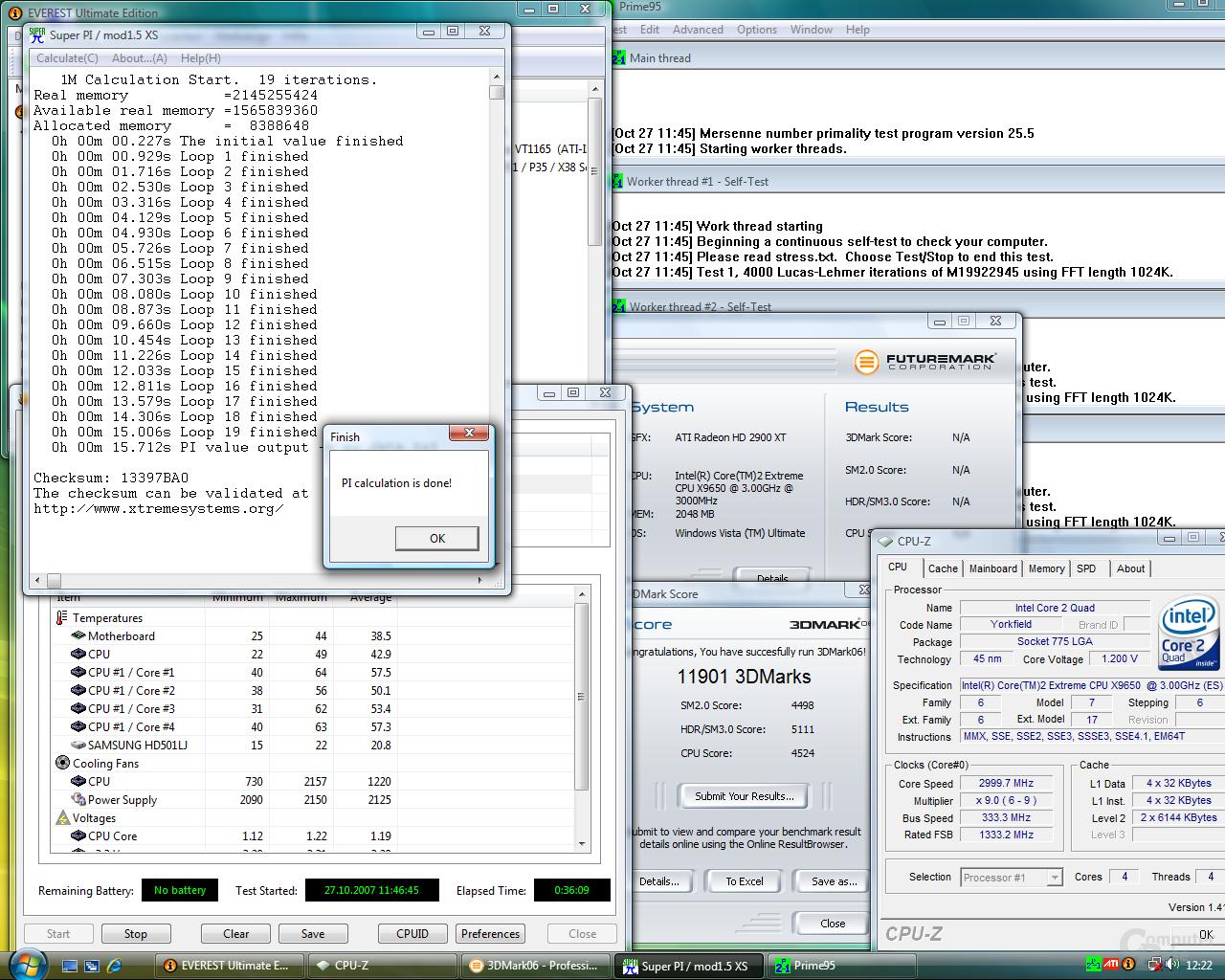 So sieht es aus: Volle Auslastung des Systems bei der Messung der Temperatur und Leistungsaufnahme (QX9650)