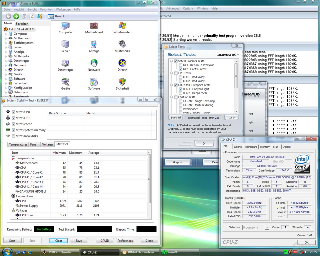 So sieht es aus: Volle Auslastung des Systems bei der Messung der Temperatur und Leistungsaufnahme (QX6850)